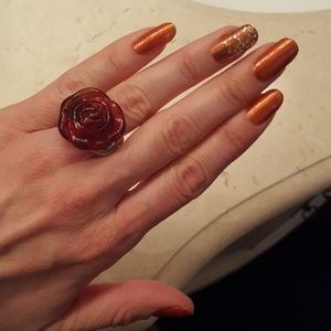 Jewelry - Vintage Red Rose Sterling Silver Ring